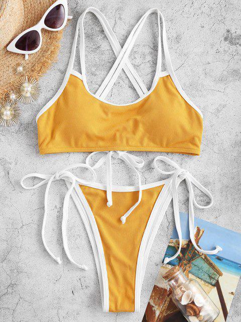 ZAFUL Riemchen Kreuzer und Querer Riss Bikini Badebekleidung - Gelb S Mobile