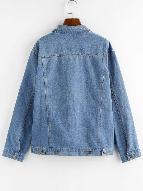 chic Button Up Denim Jacket - BLUE M Mobile