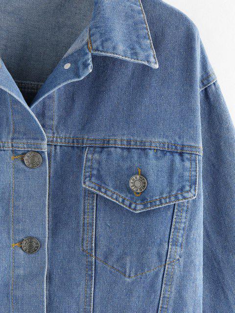 outfits Button Up Denim Jacket - BLUE L Mobile