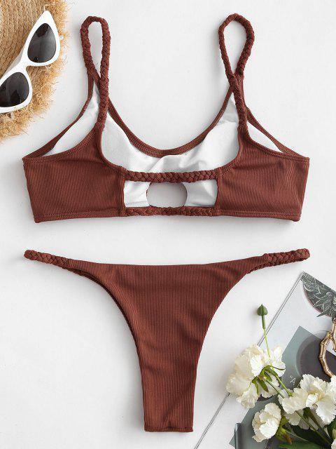 lady ZAFUL Ribbed Braided Keyhole Thong Bikini Swimwear - DEEP RED S Mobile