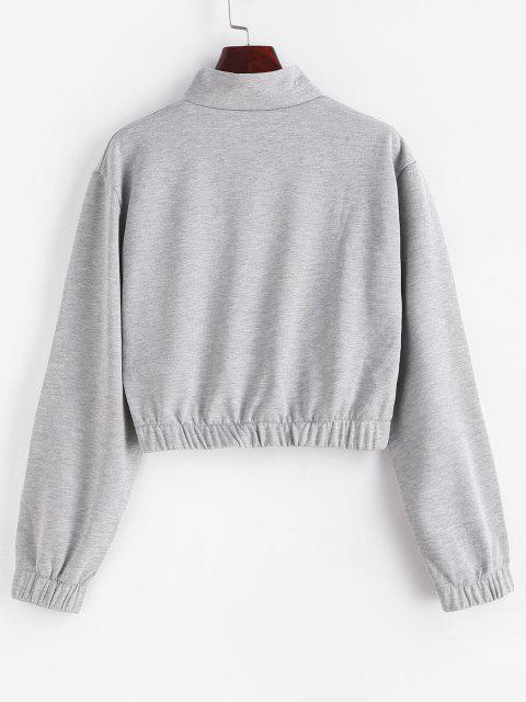 Half Zip High Neck Flap Pocket Cargo Sweatshirt - أوزة رمادية M Mobile