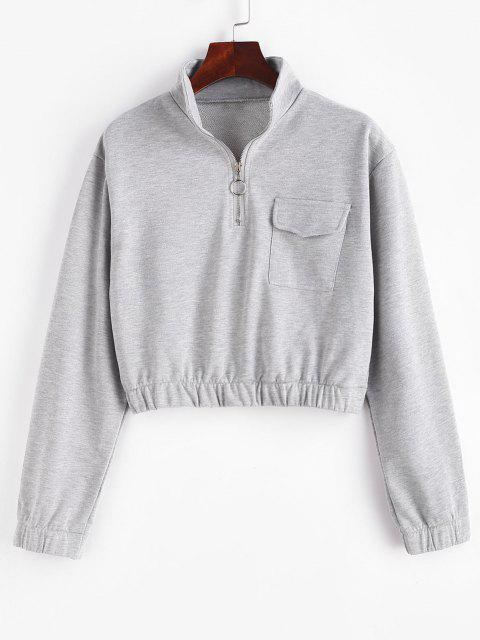 fashion Half Zip High Neck Flap Pocket Cargo Sweatshirt - GRAY GOOSE S Mobile