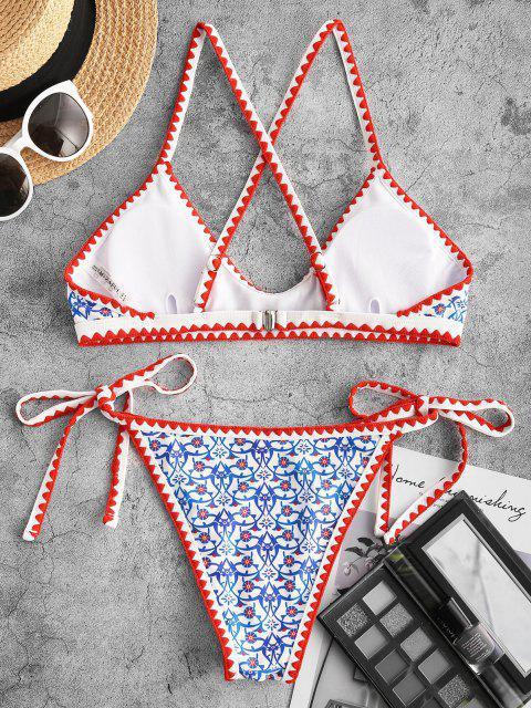 ZAFUL Costume da Bagno Bikini con Stampa Boho con Croce - Azzurro S Mobile