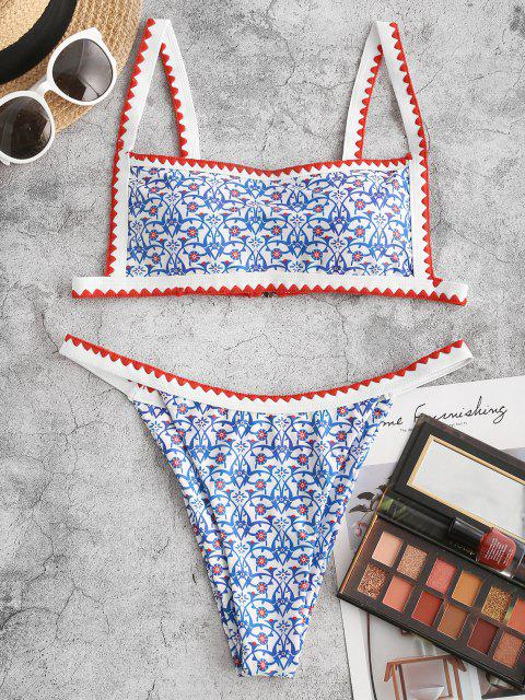 ZAFUL Maillot de Bain Bikini Cousu Imprimé Style Bohémien - Bleu clair S Mobile