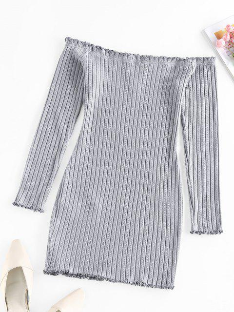 chic ZAFUL Off Shoulder Frilled V Wired Ribbed Dress - GRAY CLOUD M Mobile