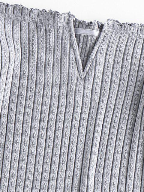 fashion ZAFUL Off Shoulder Frilled V Wired Ribbed Dress - GRAY CLOUD L Mobile