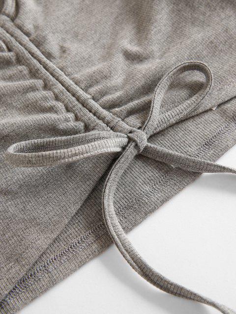 ZAFUL Geschnürte Crop Top und Shorts Set - Hellgrau S Mobile