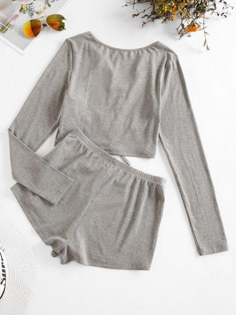 best ZAFUL Cinched V Notch Crop Top and Shorts Set - LIGHT GRAY M Mobile