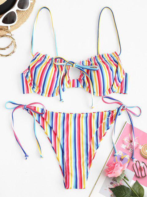 ZAFUL Regenbogen Gestreifte Gerippte Bügel Bikini Badebekleidung - Multi M Mobile