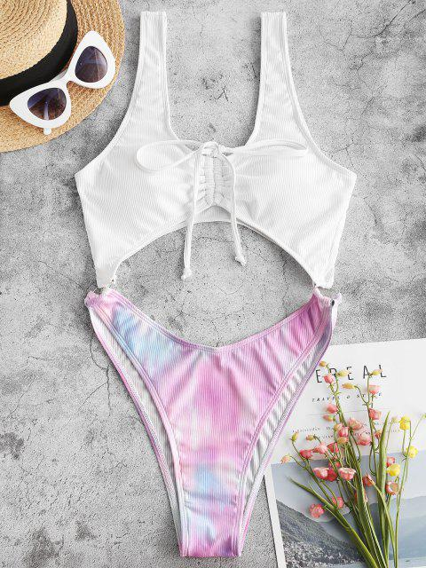 chic ZAFUL Tie Dye Ribbed O Ring Cinched Cutout One-piece Swimsuit - WHITE L Mobile