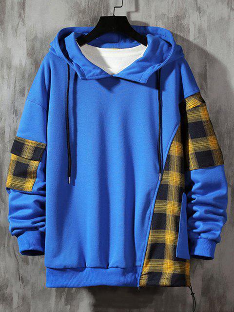 women Plaid Panel Pocket Drop Shoulder Hoodie - BLUEBERRY BLUE M Mobile