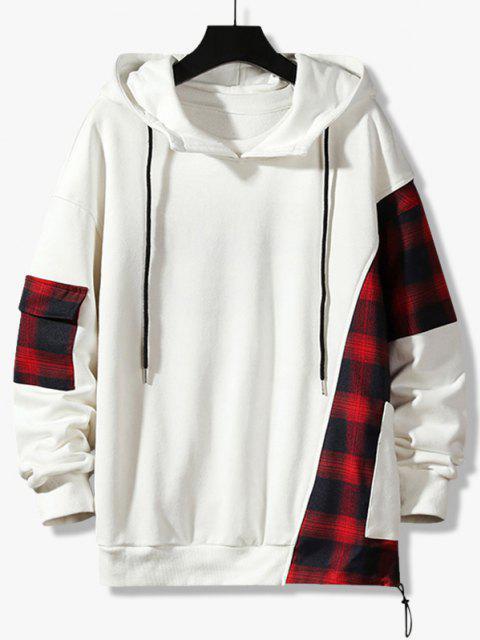 fashion Plaid Panel Pocket Drop Shoulder Hoodie - WHITE 3XL Mobile