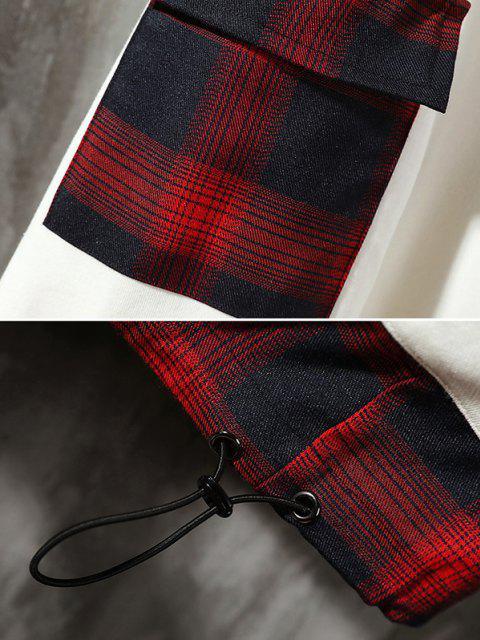 buy Plaid Panel Pocket Drop Shoulder Hoodie - WHITE M Mobile