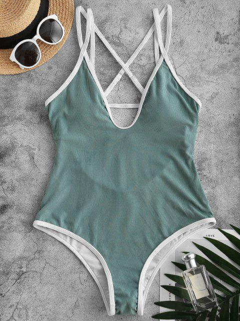 buy ZAFUL Ribbed Contrast Binding Crisscross Backless One-piece Swimsuit - GREEN L Mobile