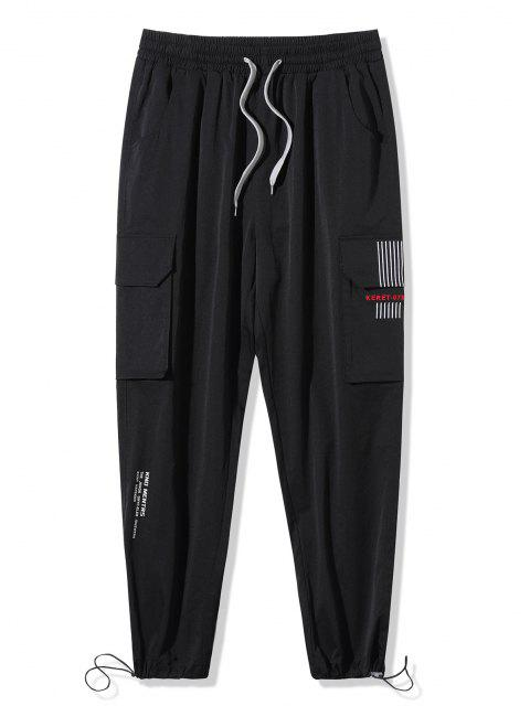 trendy Letter Print Striped Embroidery Cargo Pants - BLACK 2XL Mobile