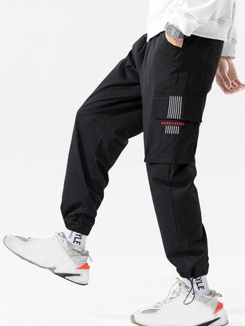 buy Letter Print Striped Embroidery Cargo Pants - BLACK 3XL Mobile