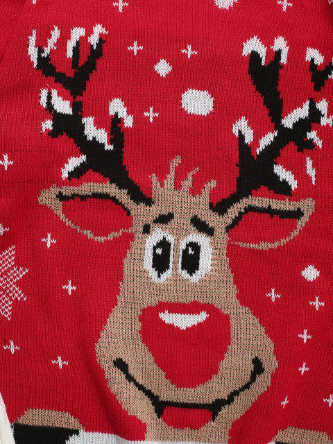 shops Christmas Deer Snowflake Pattern Knit Sweater - LAVA RED M Mobile