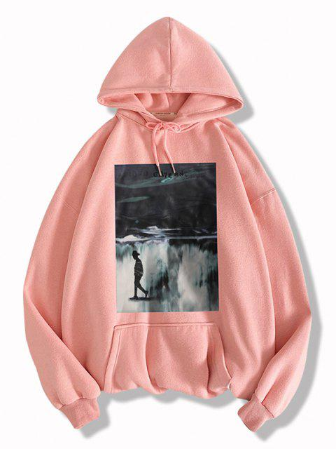 chic Graphic Print Drawstring Front Pocket Hoodie - PINK L Mobile