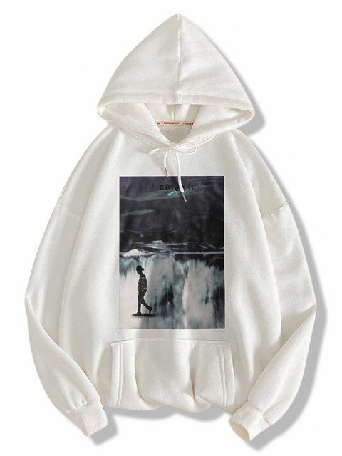 fancy Graphic Print Drawstring Front Pocket Hoodie - WHITE L Mobile