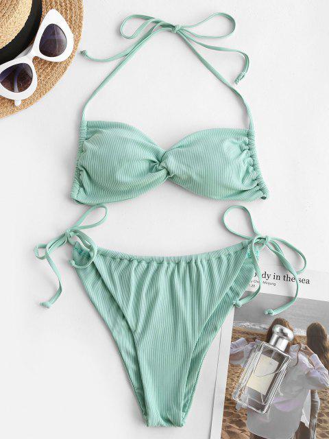 ZAFUL Conjunto de Bikini Trenzado con Nudo Lateral - Verde L Mobile