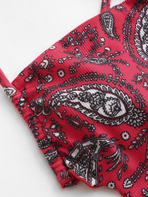 affordable ZAFUL Ribbed Paisley Print Bandana Cropped Bikini Top - RED M Mobile
