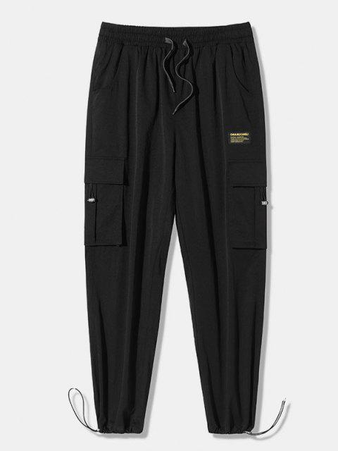 Pantalones de Carga Casual Largo de Aplique de Multi-bolsillo - Negro 2XL Mobile