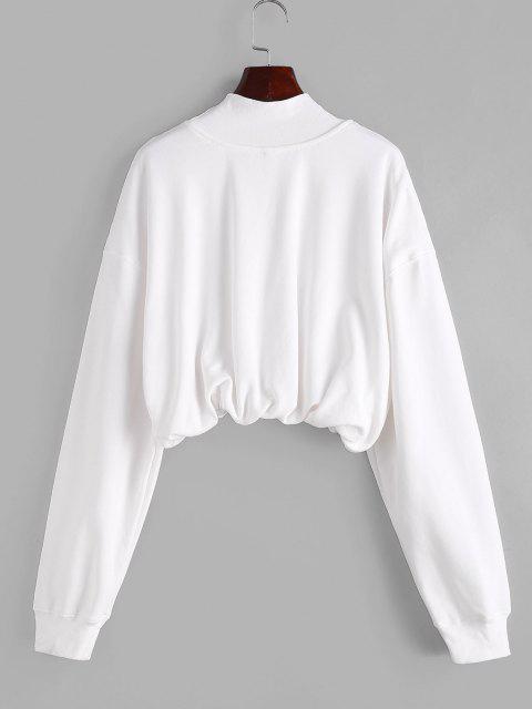 Sweat-shirt Court Brodé à Col Haut - Blanc Lait S Mobile