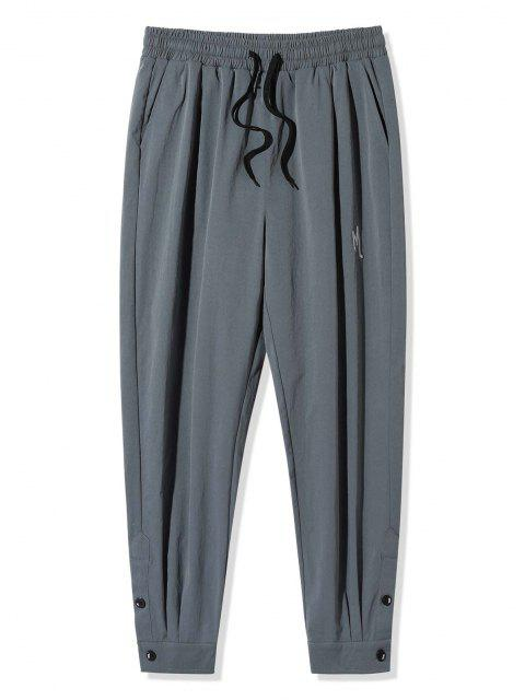 affordable Letter Embroidery Button Hem Long Pants - DARK GRAY 2XL Mobile