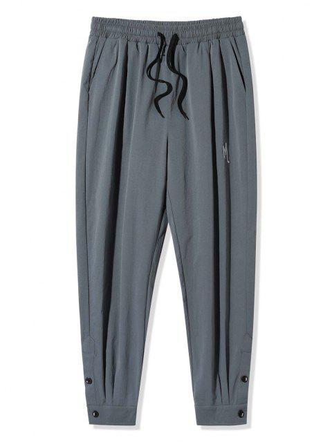 Pantalones Largos con Botón de Bordado de Letra - Gris Oscuro 2XL Mobile
