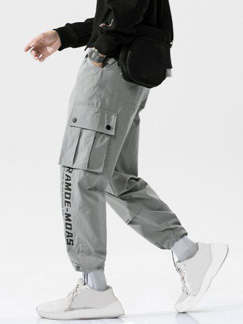 Pantalones de Carga Casual Solapa de Estampado de Letras de Bolsillo - Gris Claro 2XL Mobile