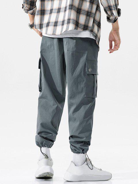 shop Flap Pocket Letter Print Casual Cargo Pants - DARK GRAY XL Mobile