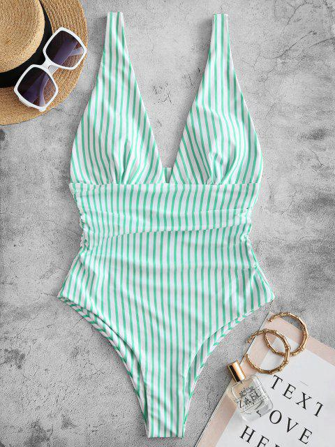 ZAFUL Striped Ruched Plunge One-piece Swimsuit - اخضر فاتح S Mobile