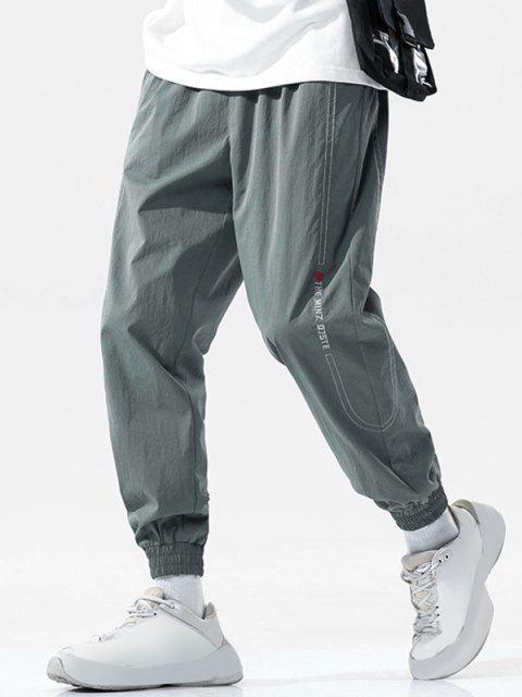 Pantalones Vaqueros con Bordado de Letras de Cintura Elástica - Gris Oscuro M Mobile
