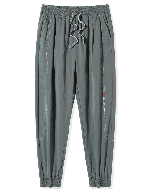Pantalones Vaqueros con Bordado de Letras de Cintura Elástica - Gris Oscuro L Mobile