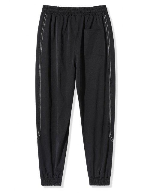 Pantalones Vaqueros con Bordado de Letras de Cintura Elástica - Negro XL Mobile