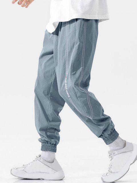 Pantalones Vaqueros con Bordado de Letras de Cintura Elástica - Azul claro 3XL Mobile