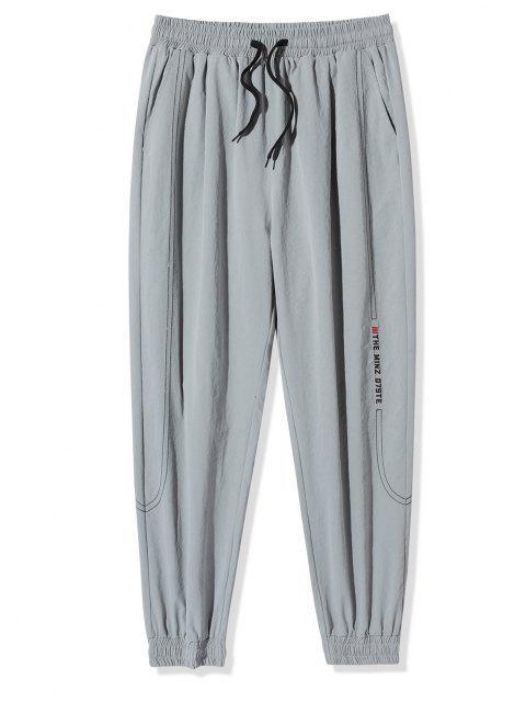 Pantalones Vaqueros con Bordado de Letras de Cintura Elástica - Gris Claro 3XL Mobile