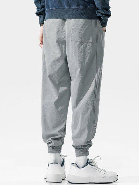 Pantalones Vaqueros con Bordado de Letras de Cintura Elástica - Gris Claro 4XL Mobile