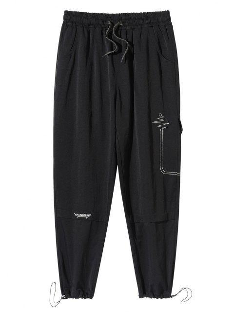 Pantalones Casuales Bordado Letra - Negro L Mobile
