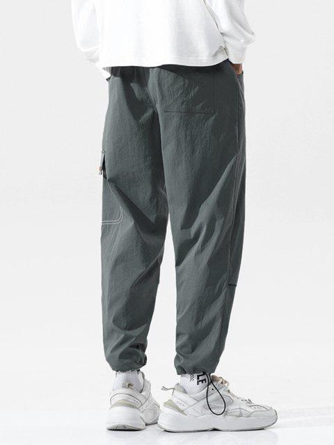 best Stitching Pattern Letter Embroidery Casual Pants - DARK GRAY XL Mobile