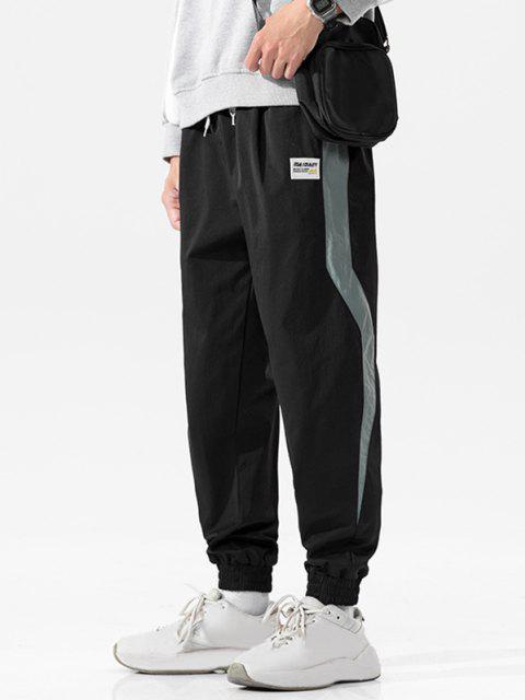 Pantalones Casuales de Panel de Color Bloque con Cordón de Pierna Recta - Negro 3XL Mobile