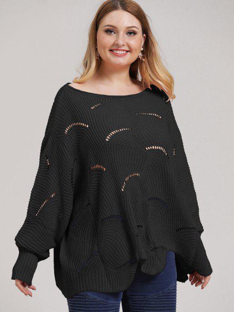 trendy Plus Size Open-knit Asymmetric Sweater - BLACK 2XL Mobile