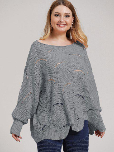 affordable Plus Size Open-knit Asymmetric Sweater - DARK GRAY 2XL Mobile