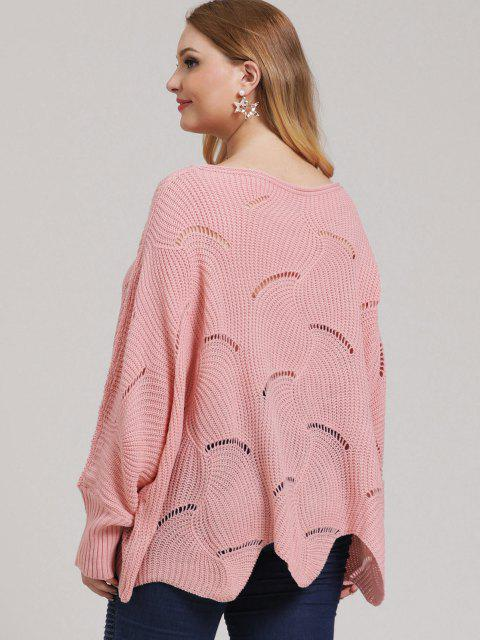 buy Plus Size Open-knit Asymmetric Sweater - LIGHT PINK L Mobile