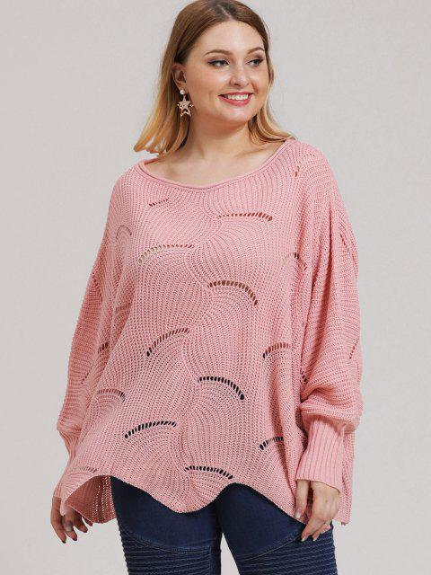 women Plus Size Open-knit Asymmetric Sweater - LIGHT PINK 2XL Mobile