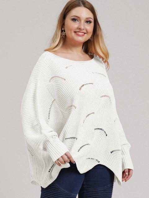 Plus Size Open-knit Asymmetric Sweater - Weiß L Mobile