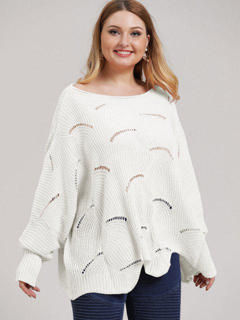 lady Plus Size Open-knit Asymmetric Sweater - WHITE 2XL Mobile