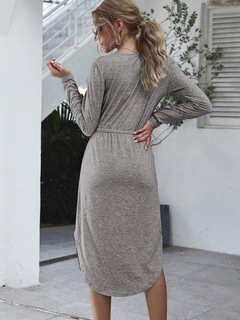 fancy Long Sleeve Tie Waist Casual Dress - GRAY M Mobile