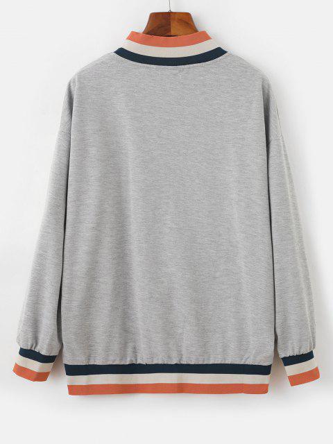 Half Zip Stripes Panel Letter Graphic Sweatshirt - اللون الرمادي L Mobile