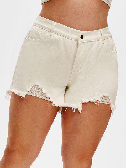 chic Ripped Frayed Denim Plus Size Cutoff Shorts - WHITE 1XL Mobile